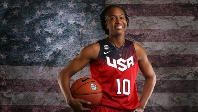 BEVERLY HILLS, CA - Basketball player Tamika Catchings poses for a portrait at the 2016 Team USA Media Summit at The Beverly Hilton Hotel on March 9, 2016 in Beverly Hills, California.