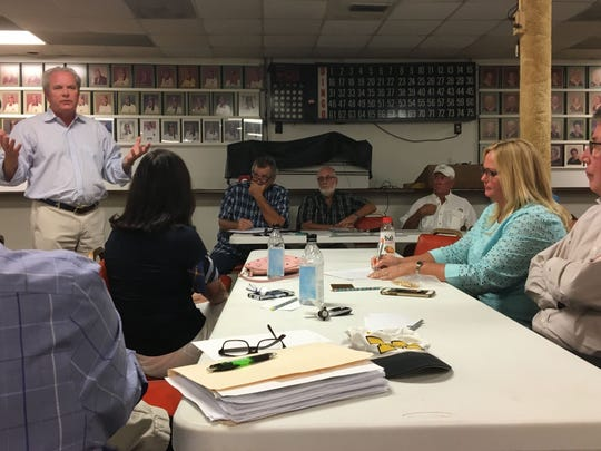 """Robert """"Bob"""" Boykin, CEO of Boykin Management Co., speaks Monday, April 2, at a Fort Myers Beach Area Civic Association forum about TPI Hospitality's plan for building a new resort in a run-down section of Fort Myers Beach, Florida."""
