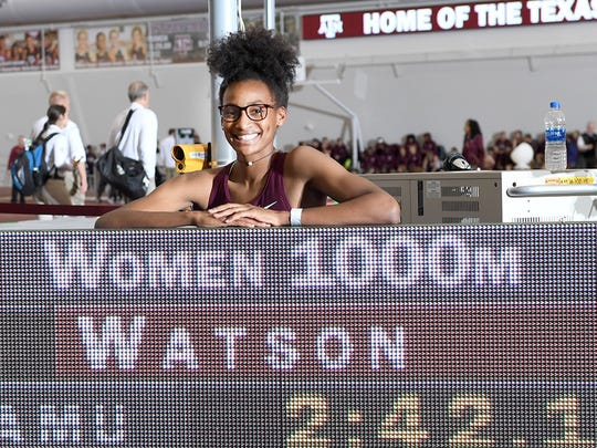 Rush-Henrietta graduate Sammy Watson, shown posing Saturday at Texas A&M, broke the university's school record in the 1,000 meters in her NCAA debut on Saturday.