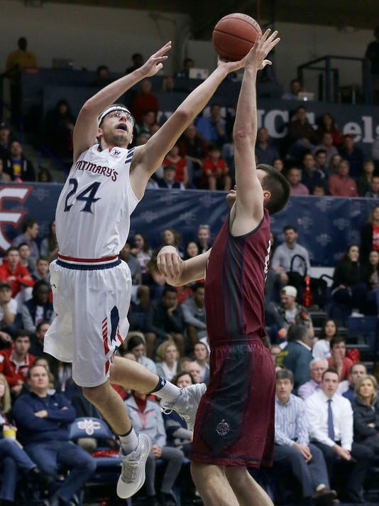 Saint Mary's forward Calvin Hermanson (24) shoots against Loyola Marymount center Stefan Jovanovic during the first half of an NCAA college basketball game in Moraga, Calif., Thursday, Feb. 16, 2017. (AP Photo/Jeff Chiu)