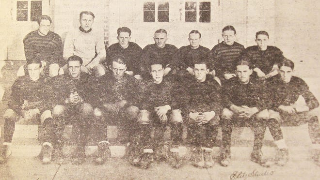 "The 1925 La Junta High School state football championship team. Top row (from left): Lewis Hefley, head coach George D. Penner, captain George Beeder, Donald Van Buskirk, Ralph Shasteen, Watson O'Connor and Bill Winograd. Bottom row (from left): Harry Harrison, Burns Sammons, Everett Marshall, Forrester ""Si"" Simpson, Orville Peacock, Paul Richart and Sidney Goodman. Not pictured: John Middlestetter and Joe Rice."