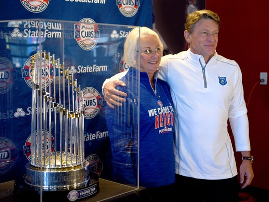 Smokies owner Randy Boyd and his wife Jenny having their photo made with the Championship trophy on display at Smokies Stadium Thursday, Feb. 2, 2017.