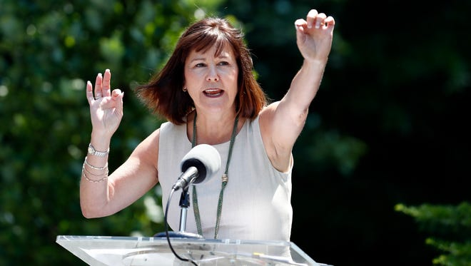 Karen Pence, the wife of Vice President Mike Pence, speaks about a beehive placed at the vice president's residence, Tuesday, June 6, 2017, in Washington, D.C.