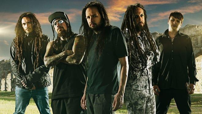 "Korn, from left: James ""Munky"" Shaffer, Reginald ""Fieldy"" Arvizu, Jonathan Davis, Brian ""Head"" Welch, Ray Luzier"