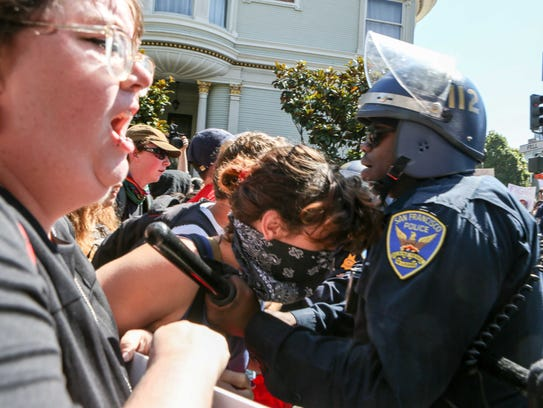 Police block protesters who showed up to counter-protest
