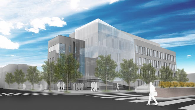 An artist's rendering shows plans for the Joint Health Sciences Center planned for downtown Camden, near Cooper University Hospital and Cooper Medical School of Rowan University. The $51 million building will serve as an education and research space for Rowan University and Rutgers University-Camden.