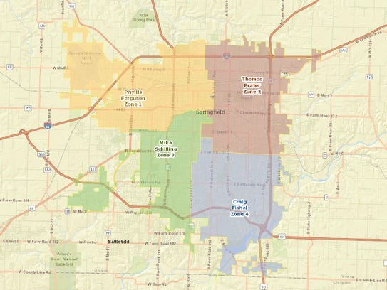 Before Springfield City Council Zones There Were Wards - Springfield mo map