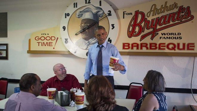 President Obama at Arthur Bryant's on July 29.