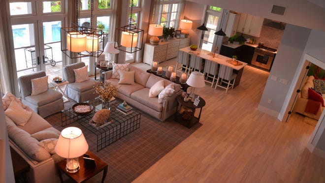 The great room and kitchen. Most of this year's HGTV Dream Home is furnished and accessorized by Ethan Allen.