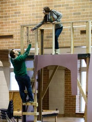 """Lake Country Lutheran theater students Michael Havey and Autumn Blundon rehearse a scene from the school's upcoming play """"Into the Woods"""" on Monday, Feb. 19, 2018."""