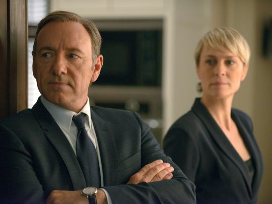 """This image released by Netflix shows Kevin Spacey as Francis Underwood (left) and Robin Wright as Clair Underwood in a scene from """"House of Cards."""""""