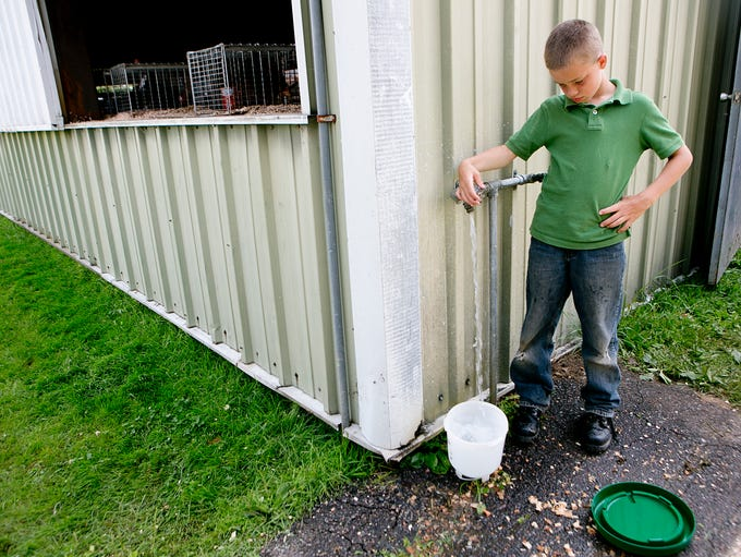 Sully Hanson of Neillsville, 9, retrieves water for his turkeys at the Clark County Fair in Neillsville, Saturday, Aug. 9, 2014.