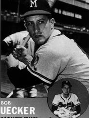 Bob Uecker Milwaukee Braves baseball card.