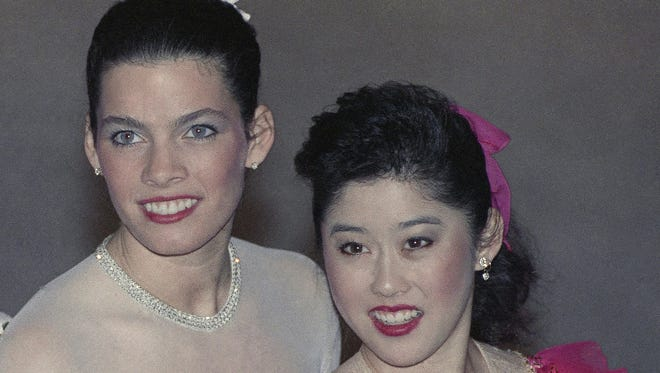 The U.S. Olympic Skating's Nancy Kerrigan (left) and Kristi Yamaguchi (right) pose at the 1992 U.S. Figure Skating Championships in Orlando, Fla.