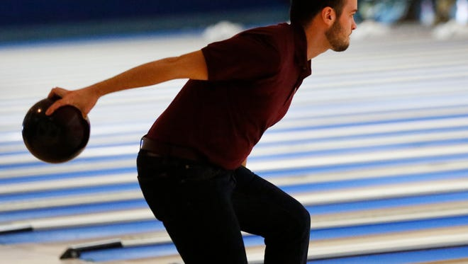 Sean Michels of Fond du Lac bowls during the Knights of Columbus bowling tournament at Ledgeview Lanes Saturday. His team is Gallitz Farms of Fond du Lac.