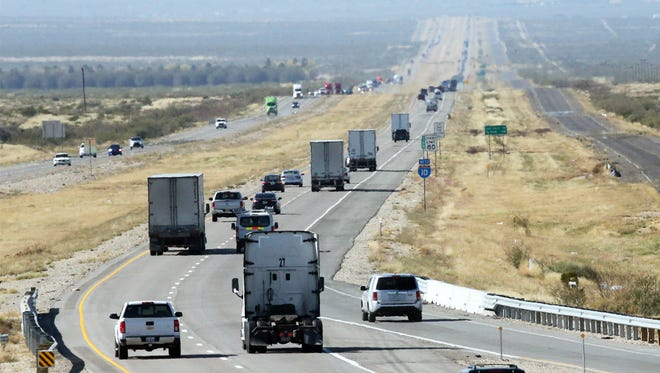 Traffic flows along Interstate 10 recently, looking west from the Plateau Truck & Auto Plaza, about seven miles from the area where a U.S. Border Patrol agent was fatally injured in the line of duty Nov. 18. The agent died the next day at a hospital in El Paso.