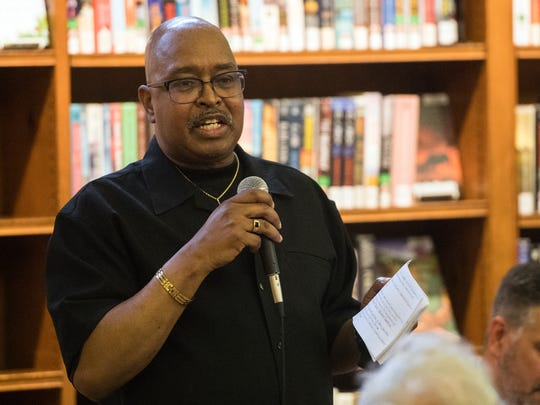 Michael Jefferson, of Crispus Attucks, discusses topics with the audience, Wednesday, May 30, 2018. Panelists engaged with audience members regarding the 50th anniversary of the race riots, the charrette and the aftermath in York at Martin Memorial Library, presented by the York Daily Record.