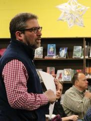 South Burlington community member Dan Albrecht asks