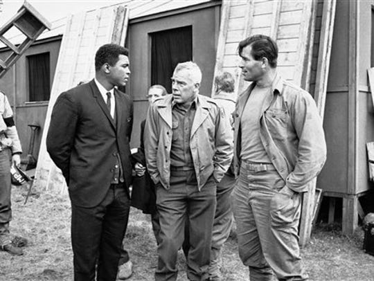 "Muhammad Ali visits the film set of ""The Dirty Dozen"""