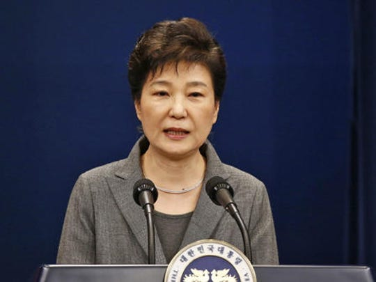 South Korean President Park Geun-hye makes a live televised