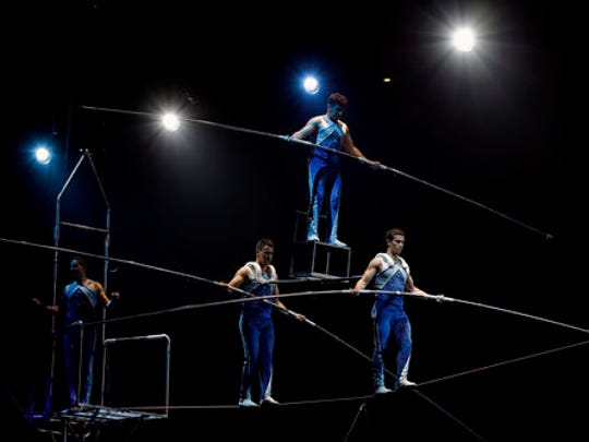 "A Ringling Bros. and Barnum & Bailey high wire act performs during a show Saturday, Jan. 14, 2017, in Orlando, Fla. The Ringling Bros. and Barnum & Bailey Circus will end the ""The Greatest Show on Earth"" in May, following a 146-year run of performances. Kenneth Feld, the chairman and CEO of Feld Entertainment, which owns the circus, told The Associated Press, declining attendance combined with high operating costs are among the reasons for closing."