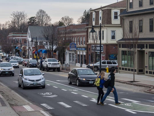 Main Street in Durham, New Hampshire, is seen on Thursday, February 4, 2016.  The University of New Hampshire in Durham is the site of the last debate between Democratic presidential candidates Hillary Clinton and Bernie Sanders before Tuesday's presidential primary.