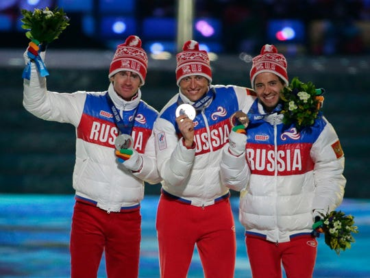 In this Feb. 23, 2014 file photo, from left, Russia's