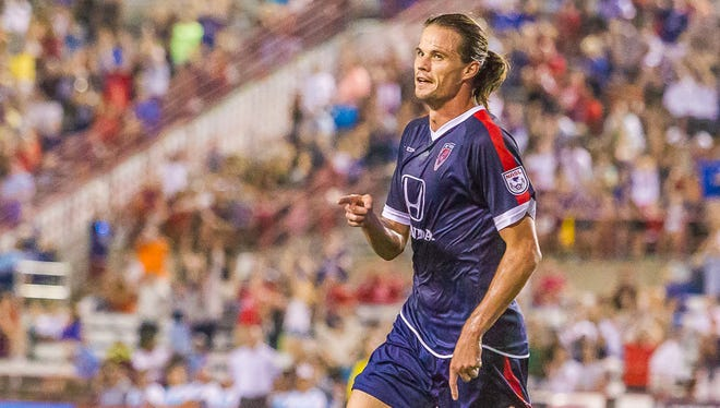 The Indy Eleven's Justin Braun netted the first goal of the match. The Eleven went on to win 3-0.