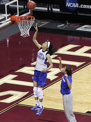 FGCU's Whitney Knight practices Friday at the Donald L. Tucker Civic Center in Tallahassee. FGCU will play Oklahoma State on Saturday.