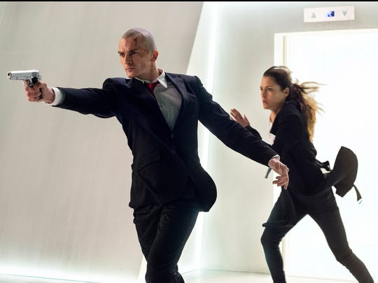 Rupert Friend and Hannah Ware take action in 'Hitman: Agent 47.'