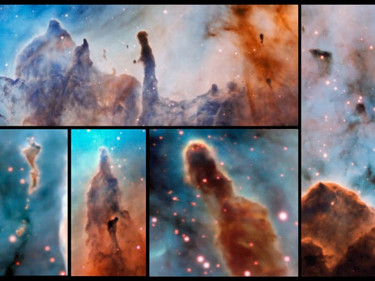 These composite image shows several pillars within