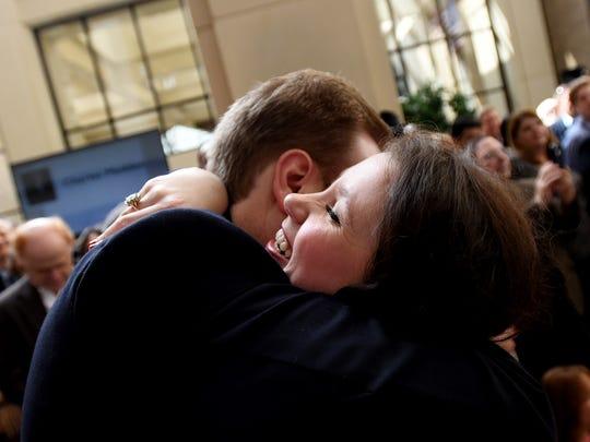 Payton Olson gets a hug during the LSU Health Shreveport's