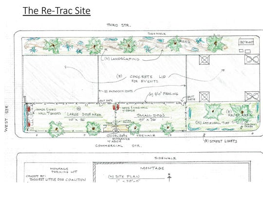 A drawing of the dog park plans for the ReTRAC trench cover in front of The Montage in downtown Reno.