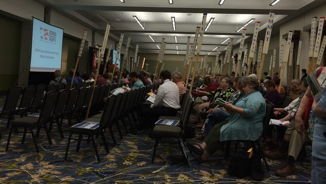 Delegates attend the Iowa Democratic Party's state convention in Des Moines.