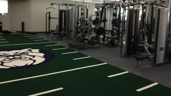 The new Butler weight room inside Hinkle Fieldhouse.
