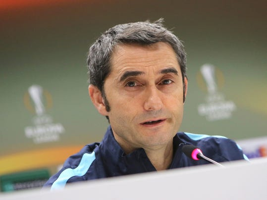 FILE- In this Wednesday, Feb.17, 2016 file photo the longtime Athletic Bilbao's manager Ernesto Valverde attends a press conference at the Velodrome stadium, in Marseille, Southern France. Barcelona said Monday, May 29, 2017, it has hired former player Ernesto Valverde as its new coach. (AP Photo/Claude Paris, File)