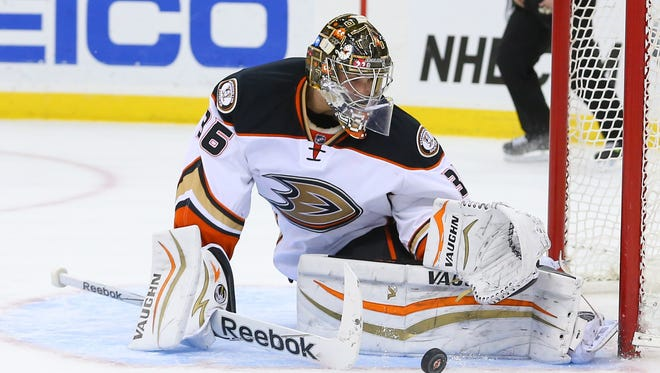 John Gibson and the Anaheim Ducks can clinch a playoff berth Tuesday night without playing.