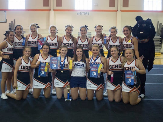 The Orange Grove High School cheer team poses for a group photo during a Universal Cheer Association camp in Orange Grove. The team's UCA cheer instructor nominated them to perform at the Citrus Bowl in Orlando, Florida, on Jan. 1, 2018.