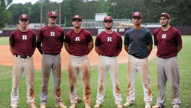Starting fro left, Richton High School seniors Jacob Dean, Noah Mills, Tyler Graham, Colton McLeod, Haze Lehn and Tyler Sheppard.