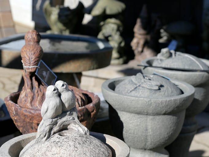 A variety of birdbaths on display at Ryser's Landscape