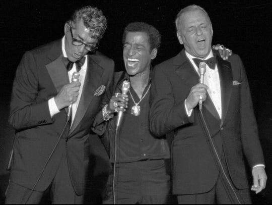 Sammy Davis Jr flanked by Rat Pack pals Dean Martin