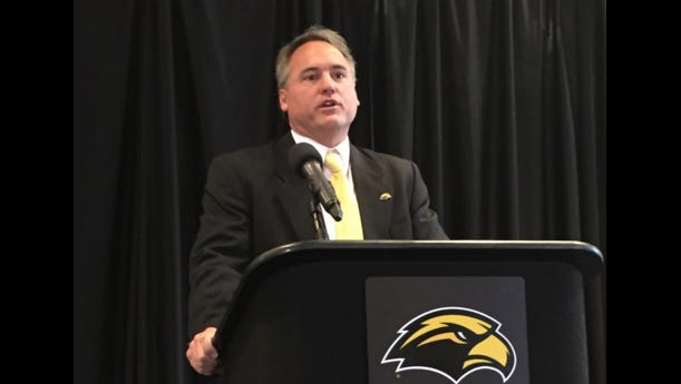 New Southern Miss head coach Jay Hopson takes the podium today at a press conference to introduce him to the media and Golden Eagle supporters.