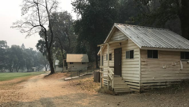 Several of the cabins at Whiskeytown Environmental School were damaged by the Carr Fire.