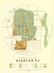 An illustration of Radburn's original design, part of a 1929 regional plan by the Regional Plan Association. Radburn was intended to be about 10 times larger than it is today but its sponsor, the City Housing Corporation, went bankrupt during the Great Depression.