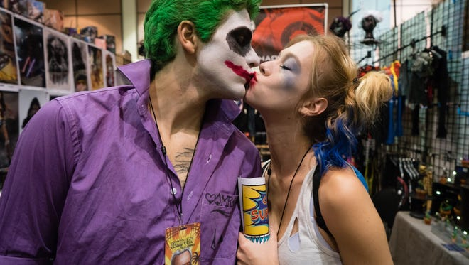 Brooke Scott and Bryce Ramos of Palm Springs exchange a kiss at the 2016 Comic Con Palm Springs. Similar cos players will return to the Palm Springs Convention Center in August.
