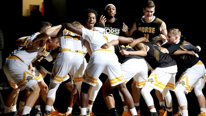 The Northern Kentucky Norse get fired up during introductions at BB&T Arena Saturday December 30, 2017.