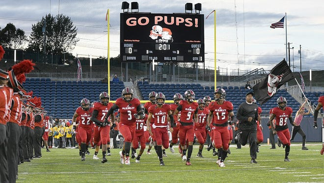 The McKinley High School football team takes the field in this file photo from 2019.