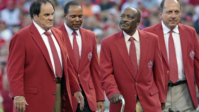 The Cincinnati Reds Franchise Four, from left, Pete Rose, Barry Larkin, Joe Morgan and Johnny Bench, on the field before the first inning of the MLB All-Star Game.