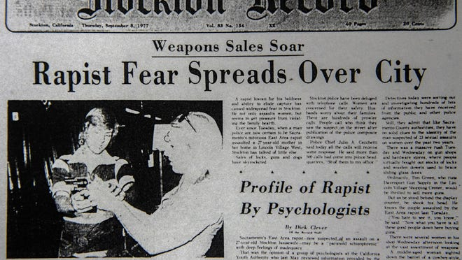 A front page story of the Stockton Record about the East Area Rapist from Sept. 8, 1977.