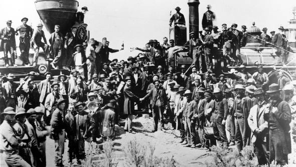 On May 10, 1869, in Promontory, Utah, workers celebrate